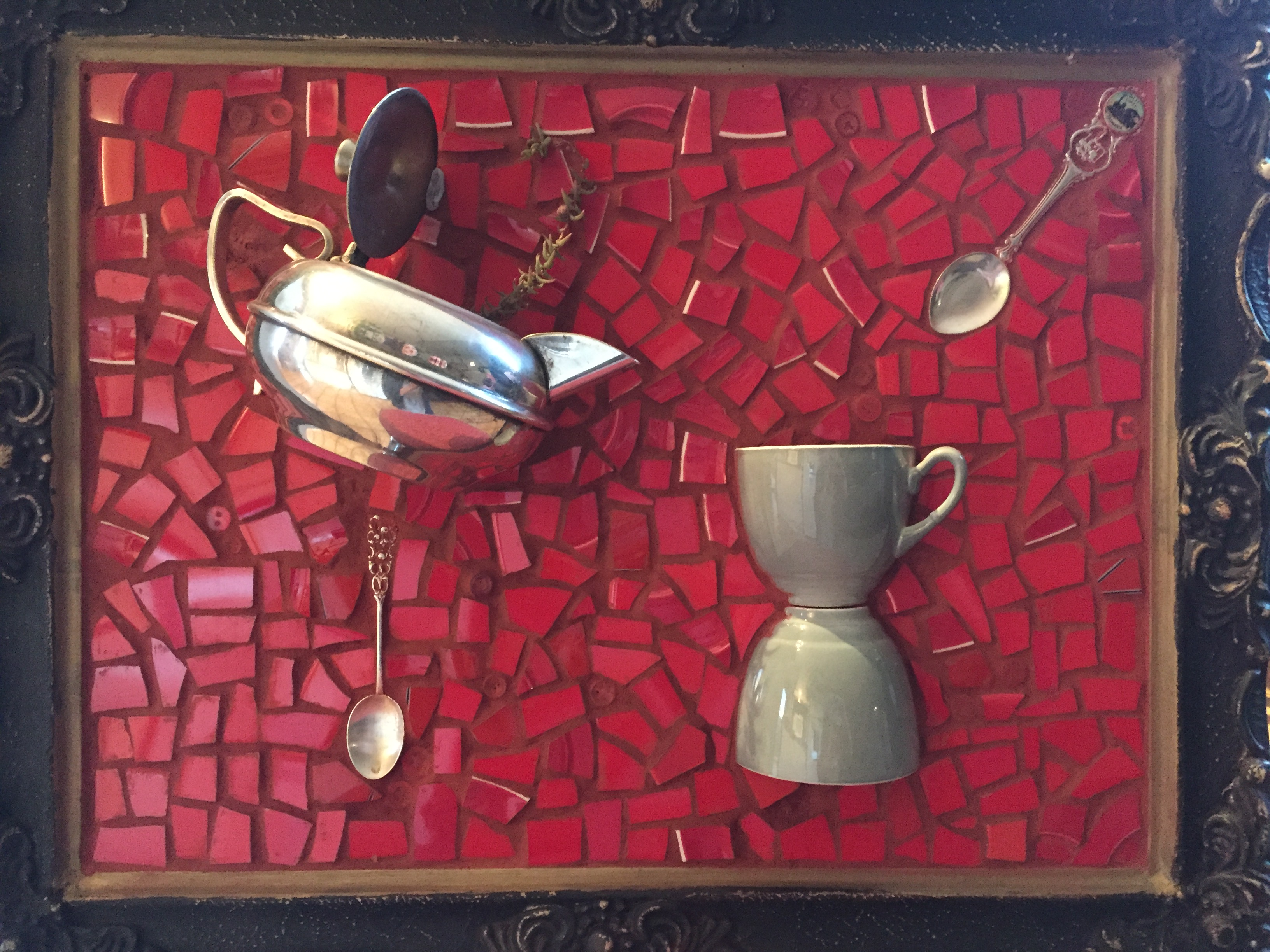 silver teapot