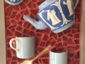 Blue/white teapot, wedgwood cup